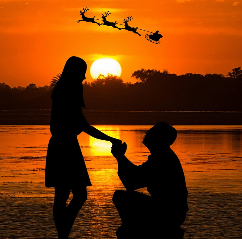 a man proposing to a woman in front of a lake at sunset with santa clause in his sled flying across the sky.