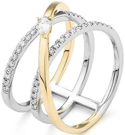 Facet multi band diamond ring