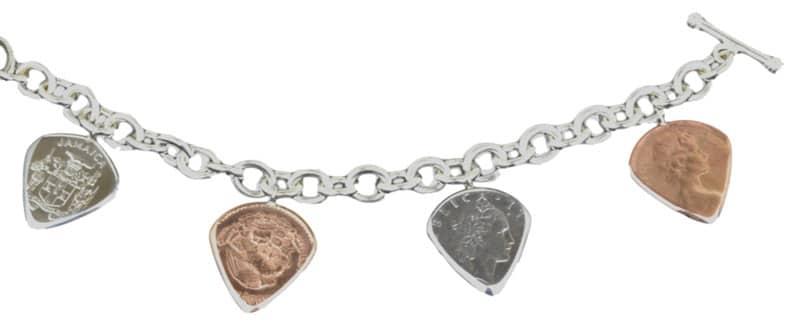 Guitar pick charm bracelet