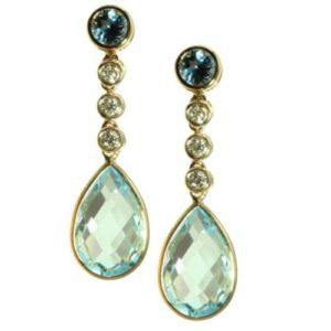 Olivia B Blue Topaz and Diamond Earrings