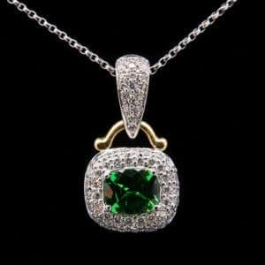 Spark Green Garnet Tsavorite and Diamond Pendant