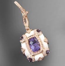 February's birthstone, amethyst set in a necklace.