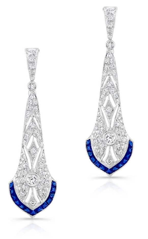Beverly K Deco Sapphire Diamond Earrings