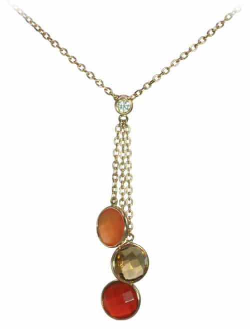 citrine carnelian red agate necklace