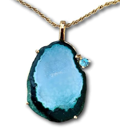 Clays Blue Geode pendant necklace perfect for zoom meetings
