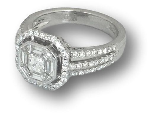 diamond octagon engagement ring
