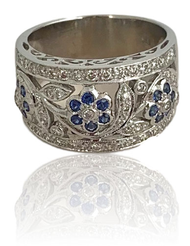 diamond sapphire flower band