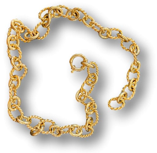 Estate yellow gold rope collar chain necklace