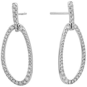 Facet Diamond stylized oval hoops