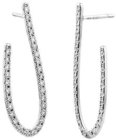 Facet Stylized Open Hoop Diamond Earrings
