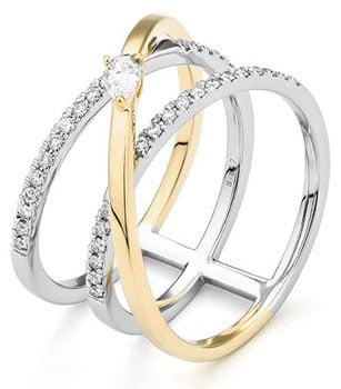Facet multi band ring