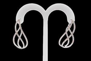 J J Designs Swirl Diamond Earrings 18K