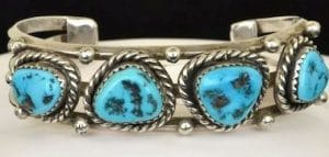 Turquoise and silver bracelet, Navajo, pre-1970, from the estate and vintage collection at Copeland Jewelers.