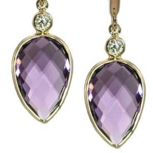 Olivia B pear shape amethyst earrings
