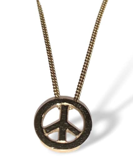 Mini peace sign necklace in gold
