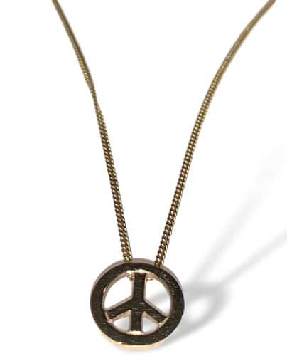 peace sign y gold pendant necklace