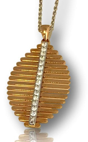 Abstract rose gold pendant with diamonds
