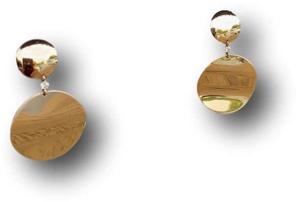 Riberra gold disc dangling earrings
