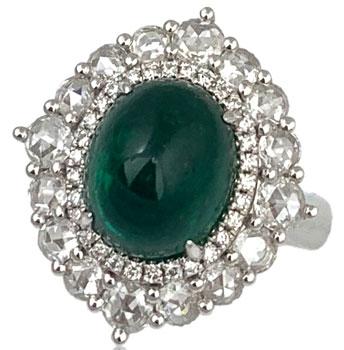 Shans Emerald Cabochon Ring