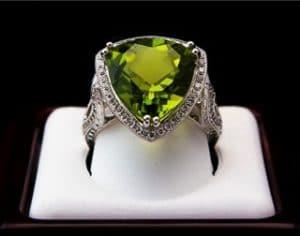 Green diamond ring.