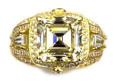 square cut diamond deco custom ring
