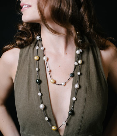 Tahititan pearl station necklace