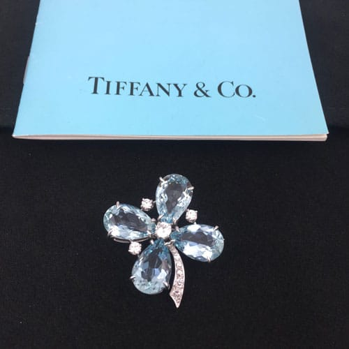 Tiffany & Co. aquamarine shamrock brooch