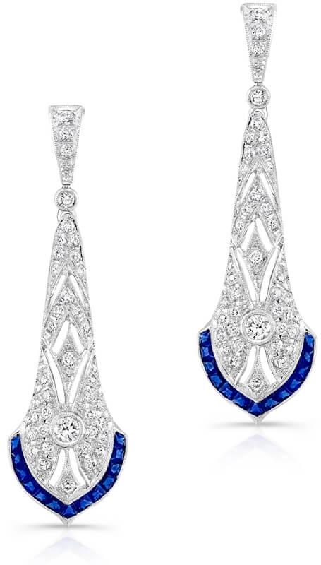 diamond and sapphire art deco earrings