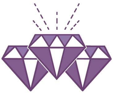 purple diamond sparkle illustrating diamond cut