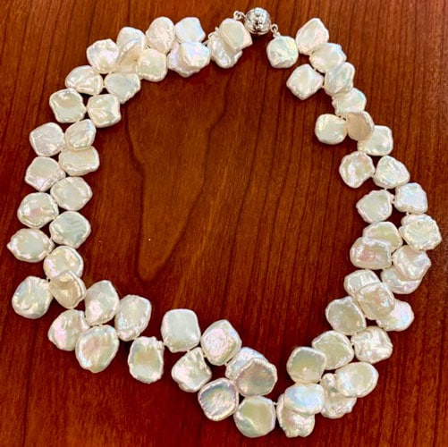 Keshi pearl necklace for Zoom calls.