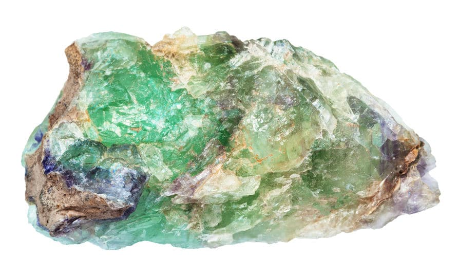 raw green Beryl, Chrysoberyl, Alexandrite gemstone isolated on white backgroung from Ural Mountains