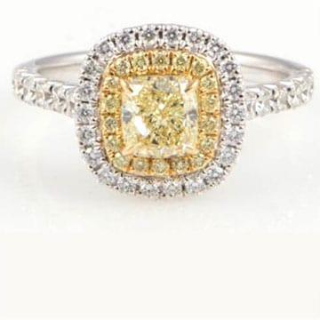 Nasbo yellow diamond wedding ring only at Copeland Jewelers in Austin, Texas