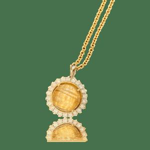 Rutilated Quartz in Rolex Diamond Bezel