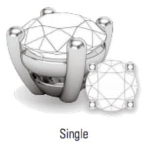 single prong jewelry setting