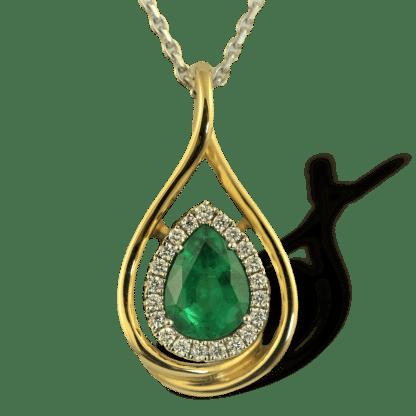 Spark emerald 18K gold pendant