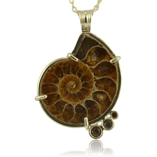 Ammonite & Garnet Pendant