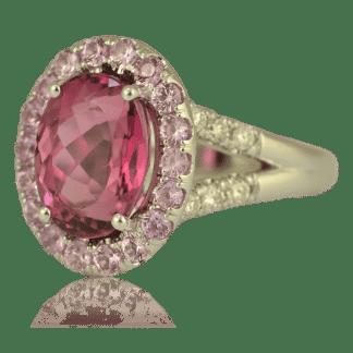 Pink Tourmaline & Sapphire Ring