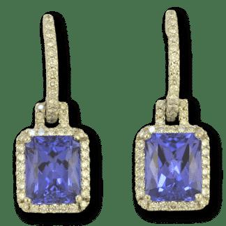 Emerald Cut Tanzanite Earrings