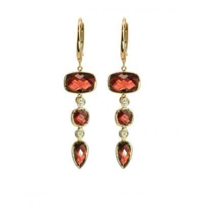 Olivia B Garnet 3-Tier Earrings