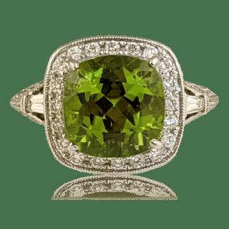 Shans Cushion Cut Peridot Ring
