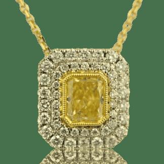 Yellow Diamond Radiant Cut necklace