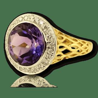 Amethyst Basket Weave Ring