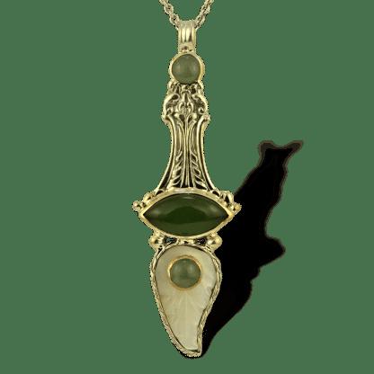 Carved Moonstone & Jade Silver Pendant