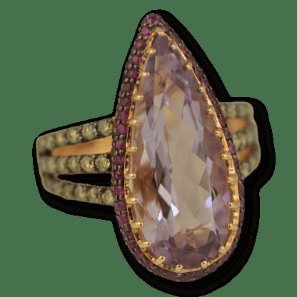 Danhier Amethyst & Ruby Ring