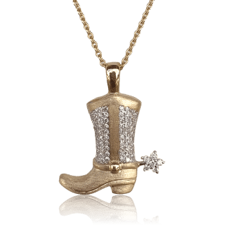 Diamond Cowboy Boot Pendant