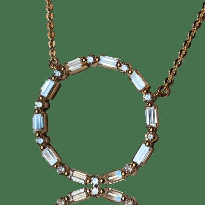 Diamond Baguette Circle Necklace