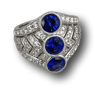 Spark Creations Triple Sapphire Ring