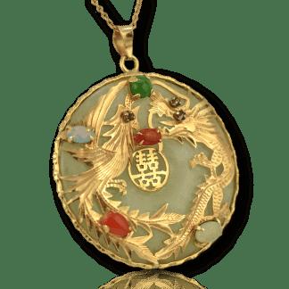 Vintage Jade Dragon Pendant